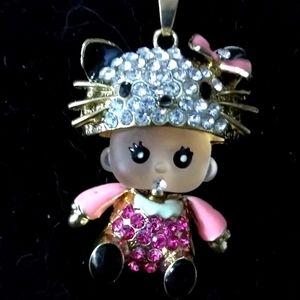 Betsey Johnson Baby Girl Wearing Hello Kitty Hat Pendant Necklace